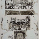 This is an India ink drawing picturing Black Lives Matter protests and a young black boy.