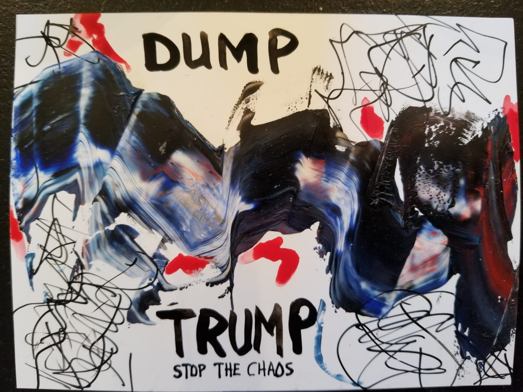 """A small painting titled """"Dump Trump""""."""